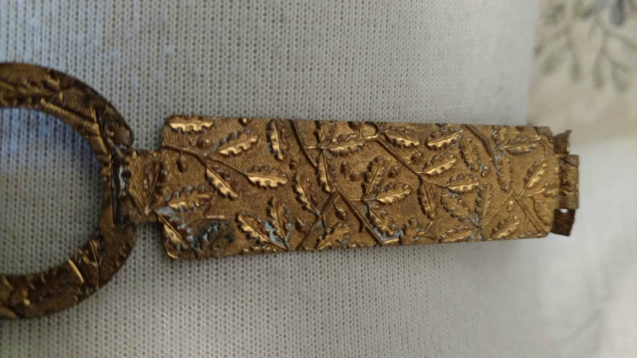 Edwardian 1920 Brass Link Belt Embossed Leaves  Arts And Crafts Style