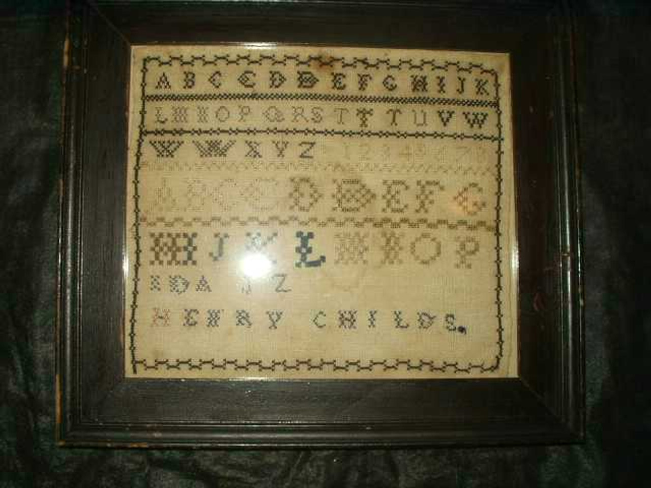 Early ABC School Girl Sampler On Homespun Original Frame