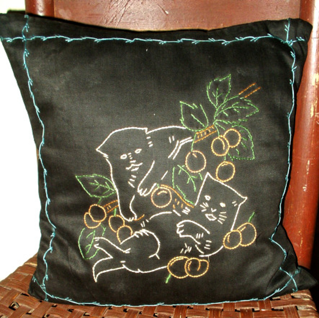 Vintage 1920 Embroidery Cats On Black Sateen Fabric Throw Toss  Pillow