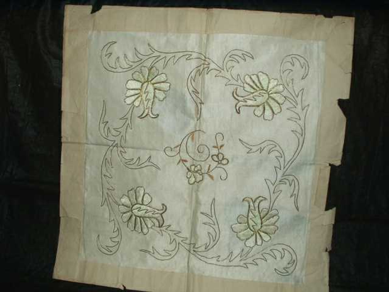 Antique Victorian Gold Metallic White Silk Embroidery Pillow Top Cover