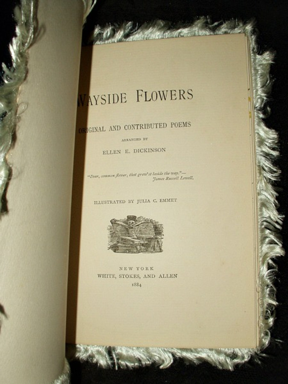 Antique Victorian 1884 Flowers Poem Book Pansy Cover Fringe Edges