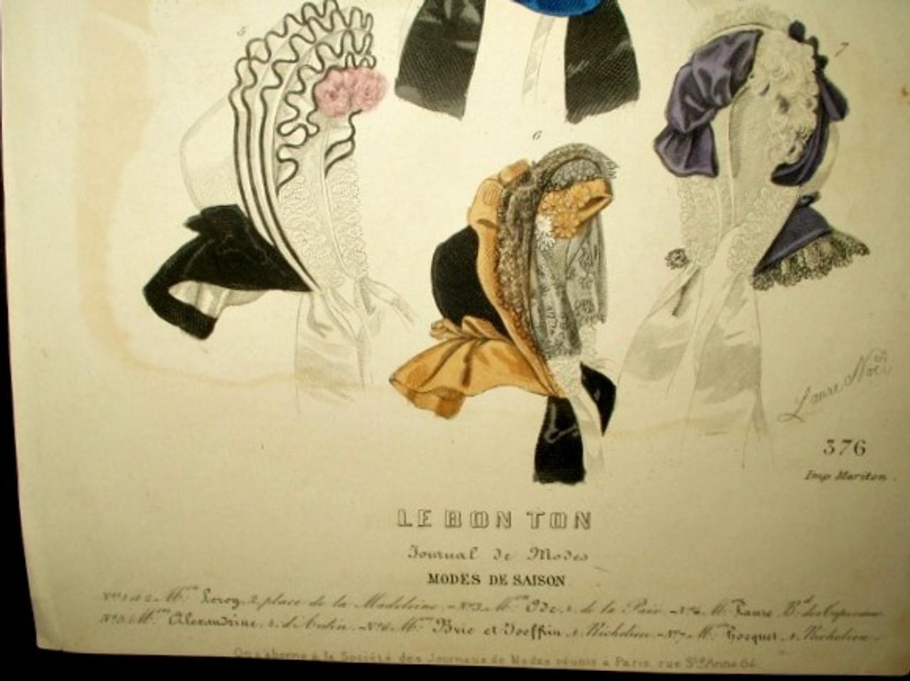 1850 Hand Colored Engraved Page Journal de Modes Hats Bonnets Magazine