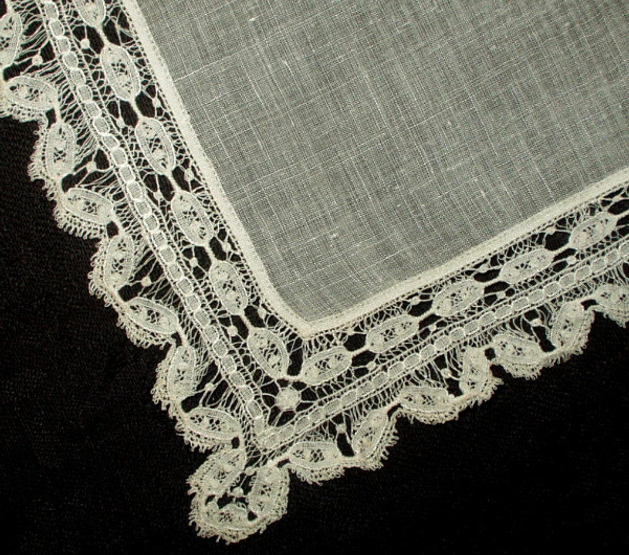 Antique Vintage Tape Lace Edge Lawn Handkerchief