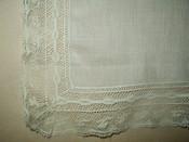 Antique Vintage Batiste Lawn Valenciennes Lace Edge 1920 1940 Handkerchief