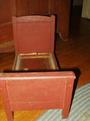 Antique Victorian Early 1900 Country Primitive Wooden Doll Bed Red Paint
