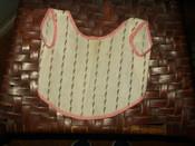 Victorian Calico Fabric Doll Baby Apron Bib White Black Trim Double Pink Fabric