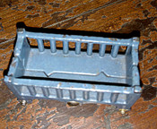 1920s Vintage Cast Iron Crib Doll House Furniture In Blue Paint