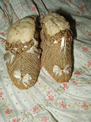 Vintage 1920s Baby Knitted Pincushion Shoes Slippers