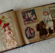 1907 Victorian Paper Scrap Book  Lithograph Prints  Newpaper Rhymes Riddles Etc
