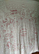 1900 Redwork Turkey Red Bedspread Embroidery Spring Summer Autumn Winter Angels