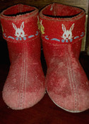 Children Red Bed Slippers Vintage 1950s Uncle Wiggily Rabbit Bunny Character