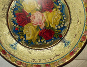 Antique Vintage Edwardian 1920s Roses Tin Litho Toy Play Dish Plate