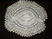 """1920's 1950's White Cotton Hand Knitted Vintage 16""""  Oval Table Doily"""
