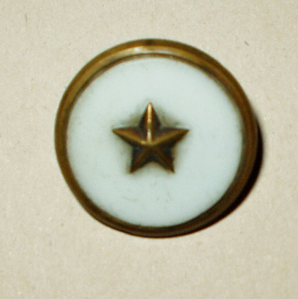 Antique Victorian Milk Glass Gilt Brass Ring Extra Fein Tin Back Button