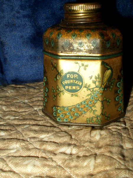 Vintage Signet Peacock Blue Lithograph Tin Glass Bottle Inkwell 1920s Advertising