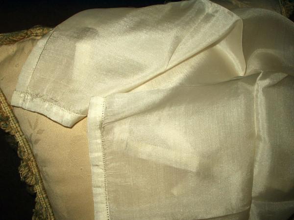 Victorian Edwardian Cream Silk Handkerchief  Hankie Unused With Label