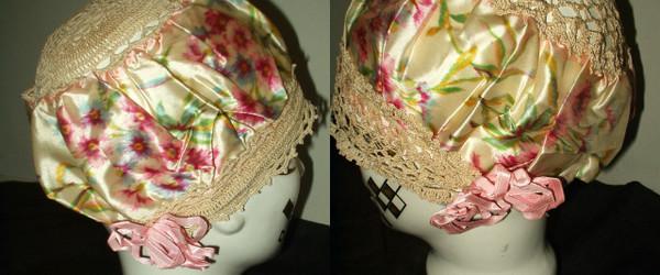 Hand Crochet Silk Printed Floral Ribbon 2 Vintage Flapper Bed Bonnet Caps Unworn