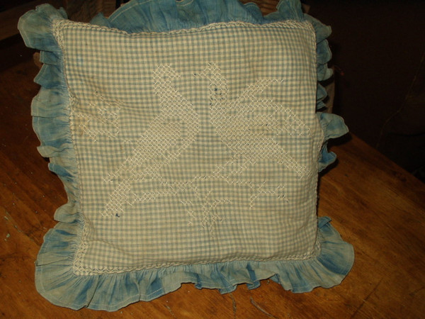 Early Country Farmhouse 1900 Pillow Blue Gingham Check Chicken Scratch Embroidery Doves