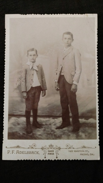 Victorian Photograph Cabinet Card 2 Young Boys Fresno CA Photographer