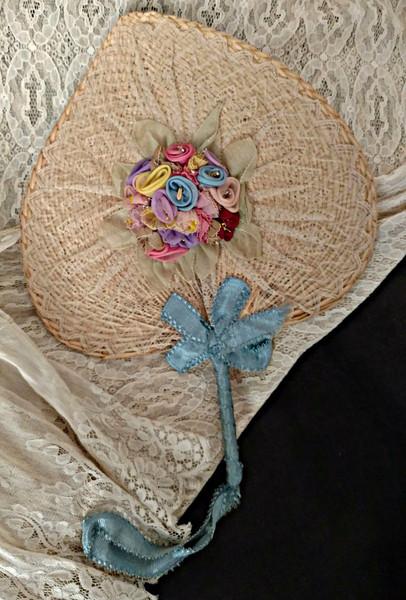Vintage 1920 Natural Straw Fan Rosette Flowers Lace Ribbon