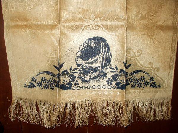 Antique Victorian Damask Fringed Towel Dog Motif