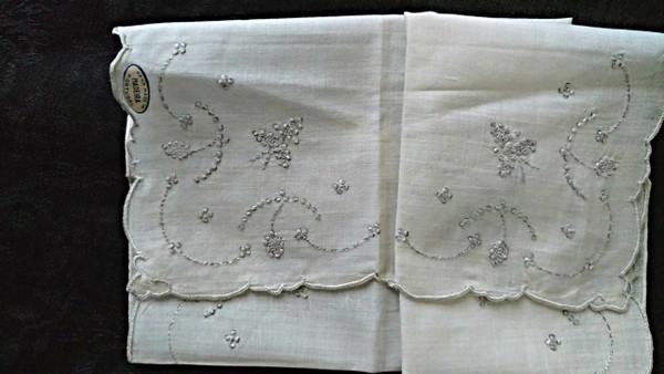 Vintage Madeira Embroidery White Wedding Handkerchief