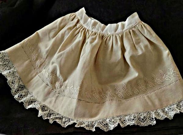 Victorian Edwardian Wool Doll Petticoat Half Slip Embroidery Lace