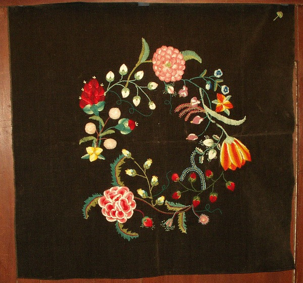 Mid 1800s Victorian Stump Work Wool Embroidery Floral Pillow Cover