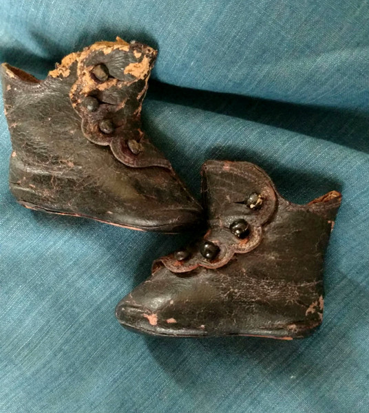 Civil War Black Leather Doll Shoes High Top Button Boots