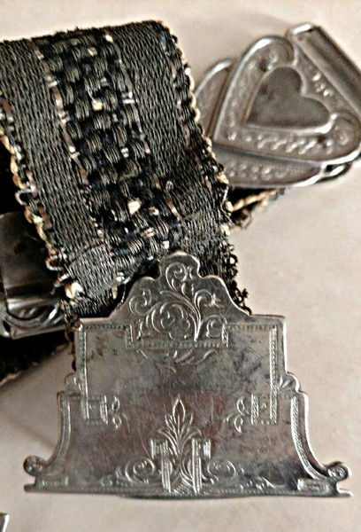 Edwardian Dress Sash Belt Woven Antique Cloth Metal Hearts Clasp