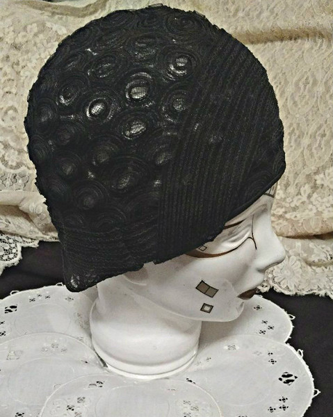 Black Horsehair Flapper Cloche Hat 1920s Helmet Style Millinery