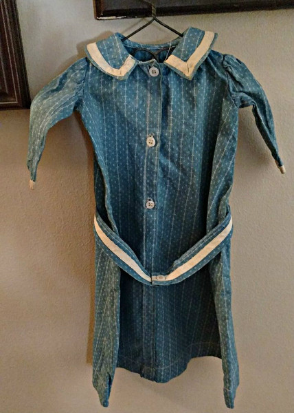 Early 1900s Blue Calico Fabric Doll Dress Button Front