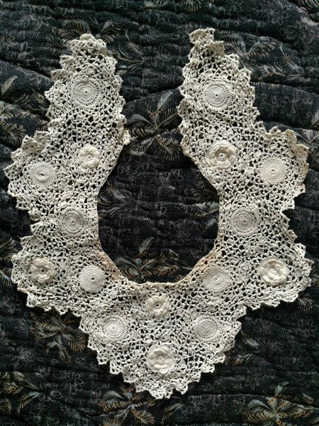 Vintage Irish Crochet Dress Collar Rosette Motif Edwardian 1920s