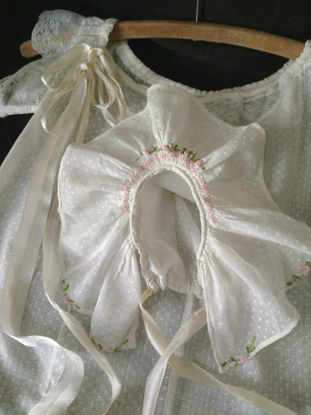 1930s Vintage Dotted Swiss Child Dress Matching Bonnet Embroidery Accent