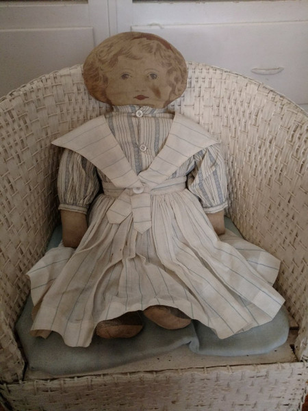Old Cloth Art Fabric Mills Doll Feb 1900 Sweetly Dressed
