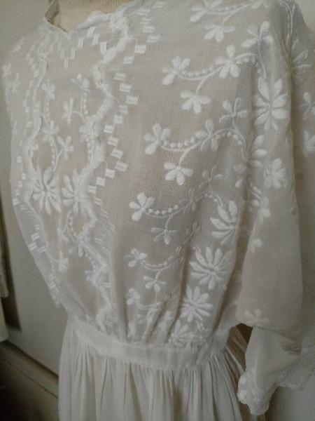 Antique White Edwardian Dress Batiste Embroidery Summer Graduation Wedding