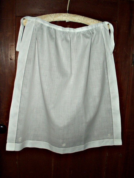 Antique Victorian White Batiste Cotton Embroidery Monogram Apron