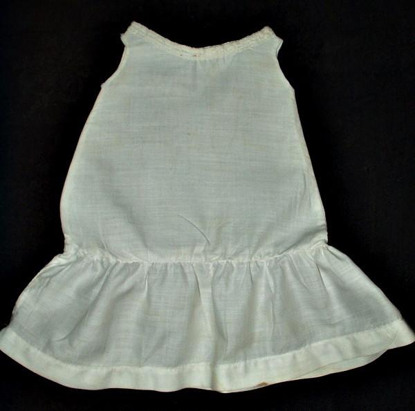 Antique 1900 Victorian  White Cotton Doll Slip For Bisque Doll