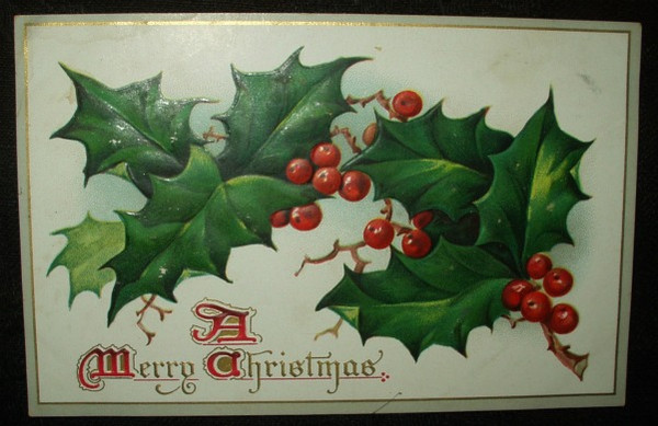 Victorian Early 1900's Holly Berry Christmas  Tuck Postcard