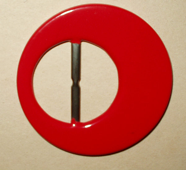 Red Plastic Large Vintage 1940 1950 Belt Buckle