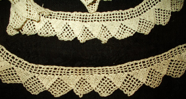 Antique Early 1900's Hand Knitted Knit  LaceTrim Edging