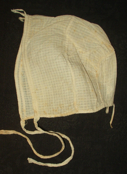 Antique Mid 19th Century Hand Stitched Drawstring Dimity Baby Bonnet