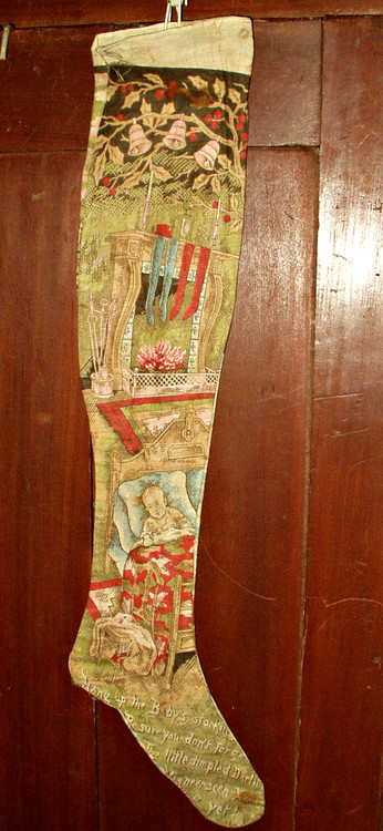 Antique Victorian Lithograph Merry Christmas Stocking