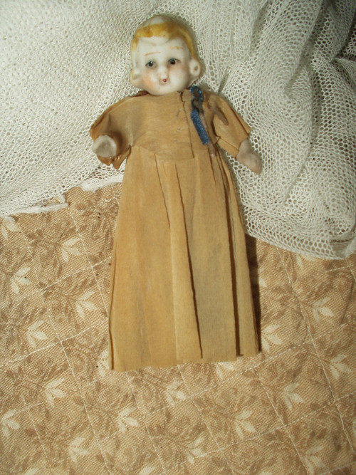 Vintage 1920 Bisque Doll Movable Hands Legs Crepe Paper