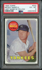 1969 #500 Topps Mickey Mantle PSA 6 - Centered