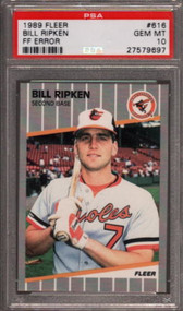 "1989 Fleer #616 Bill Ripken ""F*ck Face"" Error - PSA 10"