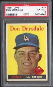 1958 Topps #25 Don Drysdale HOF - PSA 6 -Centered
