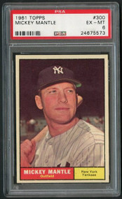 1961 Topps #300 Mickey Mantle PSA 6 - Centered