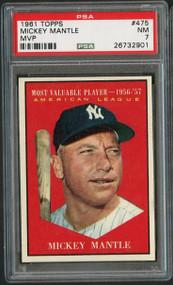 1961 Topps #475 MVP Mickey Mantle PSA 7