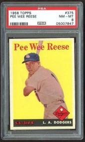 1958 Topps #375 Pee Wee Reese HOF - PSA 8